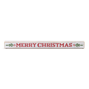 wooden long rectangular block reading Merry Christmas in red painted letters