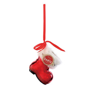 ornament with red Santa boot with tag reading Send to Santa
