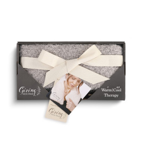 gray plush Giving neck wrap in black cardboard packaging wrapped in white ribbon