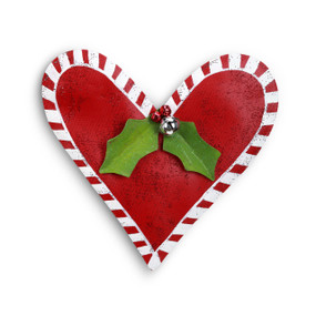 Heart shaped red door hanger with holly leaves and bells
