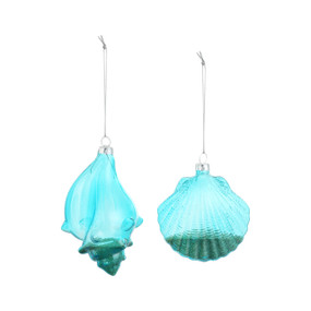 2 Blue crystal shell shaped hanging ornaments with a bit of sand in the bottom