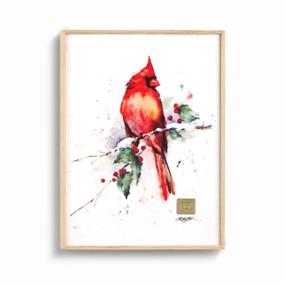 Wood framed wall art of a cardinal on a branch