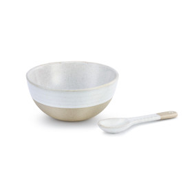 Appetizer bowl and spoon with white on the top and brown below