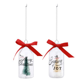 Set of 2 hanging ornaments with trees inside and holiday sentiments