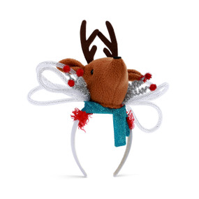 A brown and white reindeer headband with red pom poms.