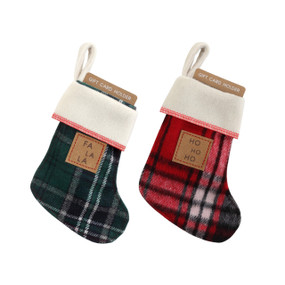 Set of 2 small plaid fabric stockings just the size to hold gift cards