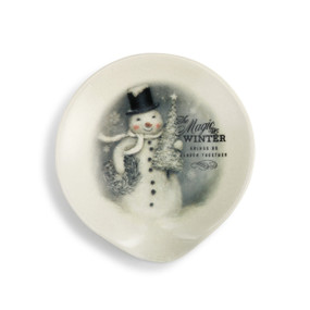 White ceramic spoon rest with a winter snowman