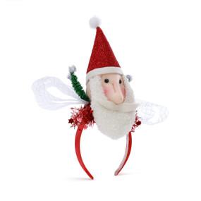 Red headband with a Santa head on top