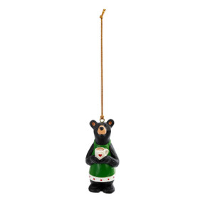 Hanging ornament of a black bear in an apron holding a cup of coffee