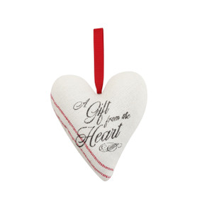 Hanging heart shaped fabric ornament that says A Gift From the Heart