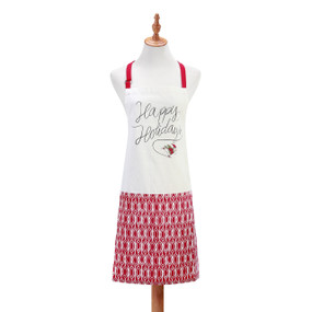 A red and white apron displayed on a mannequin with Happy Holidays and a skating Santa