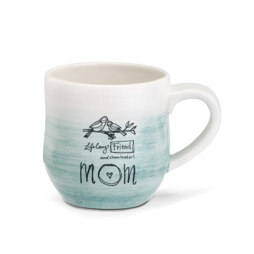 White and green ombre mug with black lettering and picture starts white at top and is green at bottom