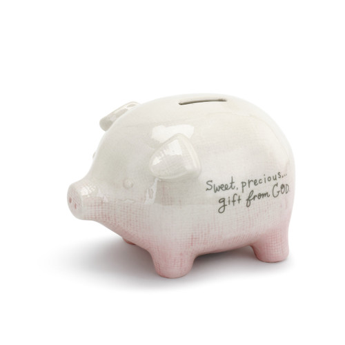 White/light pink piggy bank - side view - 'sweet, precious...gift from God' in grey letters