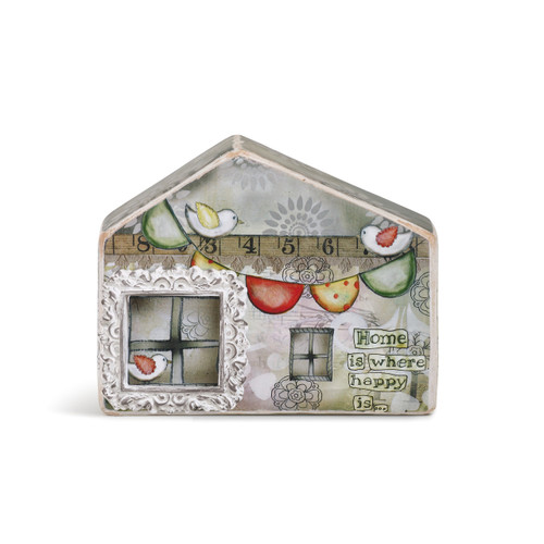 Light grey house figurine with 'home is where happy is'