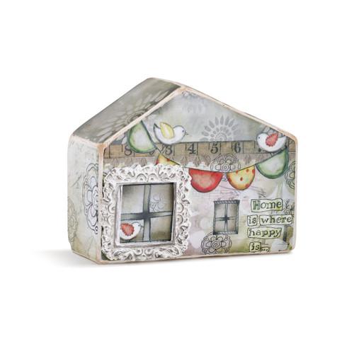 Small grey house figurine with christmas lights printed on