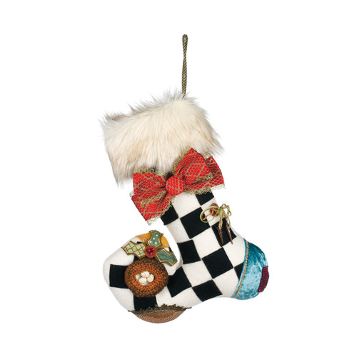 White/black checkered print with red bow hanging stocking - with white fur cuff, blue heel, and birds nest in toe
