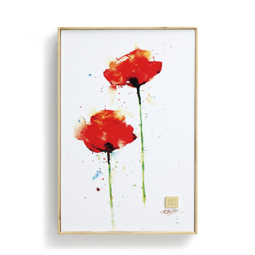 White wall art with two red flowers on it
