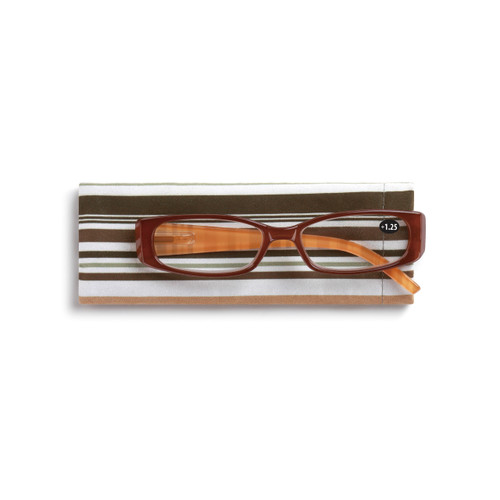 Brown Multi-Stripe Readers with Case