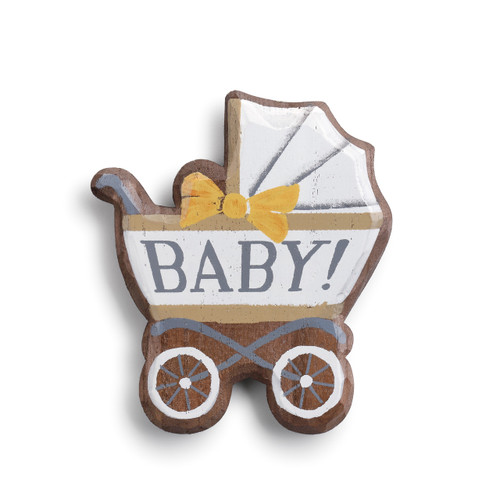 Wooden stroller figurine that is white/light blue, yellow bow, and 'baby!' printed in the center in blue