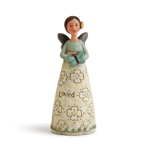 Angel figurine with brown hair and wings wears a dress with a light blue top and cream skirt. LIght blue decal around base of skirt. Angel has an orange flower in her hair and holds a blue butterfly.