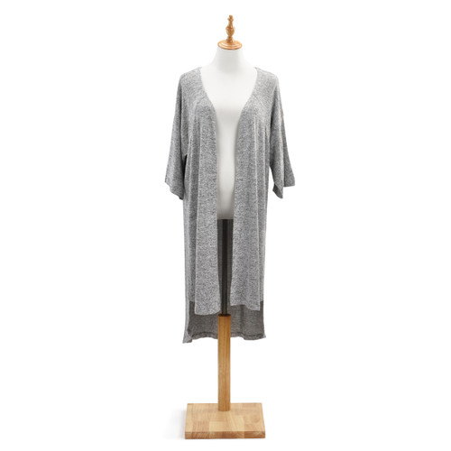 Grey open shawl wrap on white mannequin on wooden stand