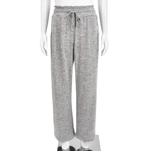 Grey sweatpants with drawstring on white mannequin - view of waist down