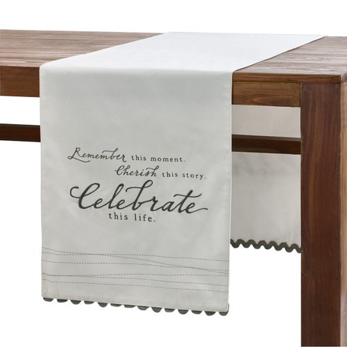 White table runner draped across a wooden table. Table runner has black lettering, small black dashed lines, and black trim on either end