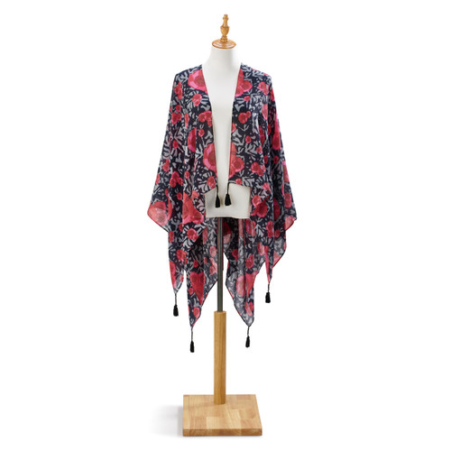 Black, grey, red sheer shawl wrap with hanging black tassles on mannequin stand