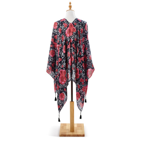 Front view of black with red rose print shawl on white wooden mannequin stand