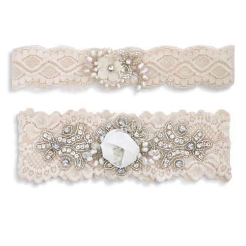 Two nude textured, embellishedheadbandsnext toanother