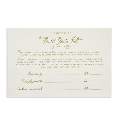 White card with 'the history of bridal garter belt' and details