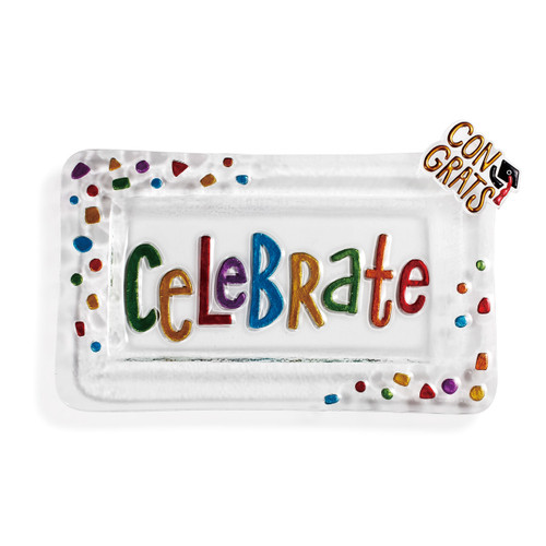 Clear glass platter with multi-colored text in center. Multi-colored confetti on top left and lower right corner of the rectangular platter. Congrats Pop In on upper right corner