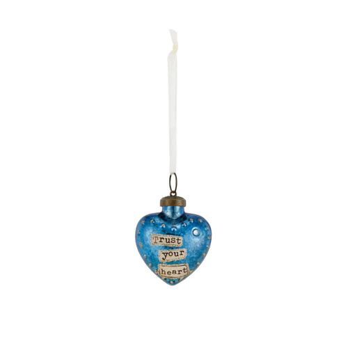 Small dark blue hanging heart pendant with 'trust your heart' in tan banner