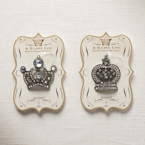 Set of two embellished crown ornaments - A Gilded Life