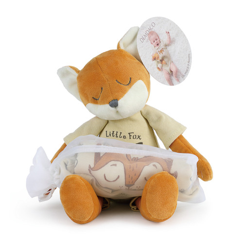 stuffed animal fox with tan onesie rolled up inside drawstring bag on lap and tag reading Fits Most 6 to 9 Months