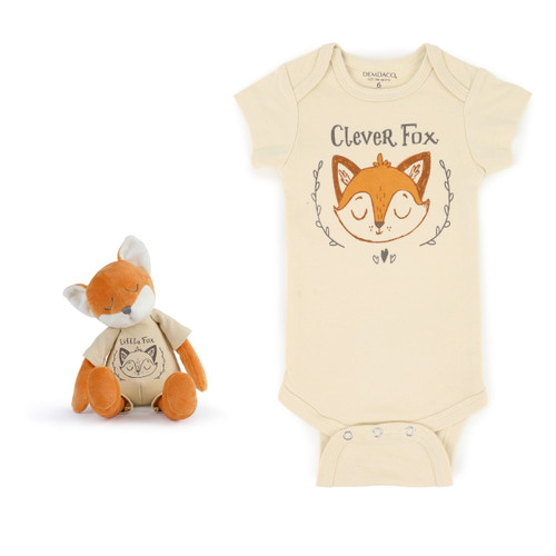 stuffed animal fox next to yellow onesie with fox illustration reading Clever Fox