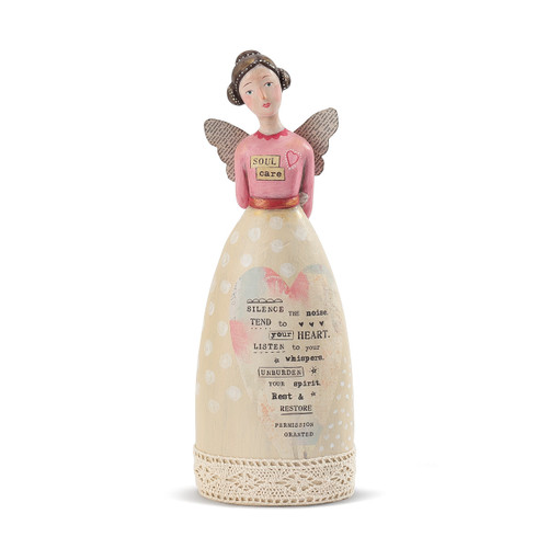 figure of woman with pink shirt and yellow shirt with wings and poem printed on front