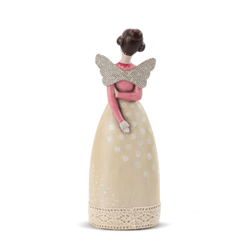Back view of brunetteangel figurine in cream dress and pink shirt
