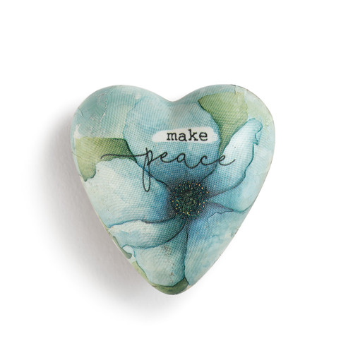 ceramic heart with blue flower and Make Peace printed on it