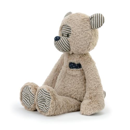 fleece tan stuffed bear in sitting position