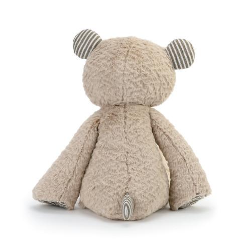 back view of tan fleece stuffed bear
