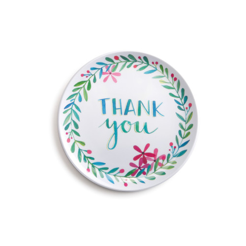 Small white coaster with blue and green branches surrounding THANK you centered