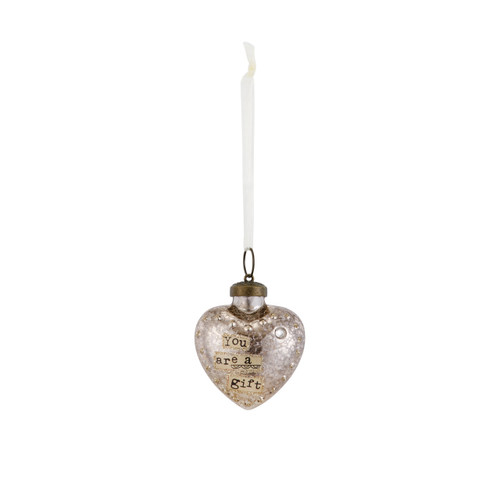 Small silver hanging heart pendant with 'you are a gift' in tan banner