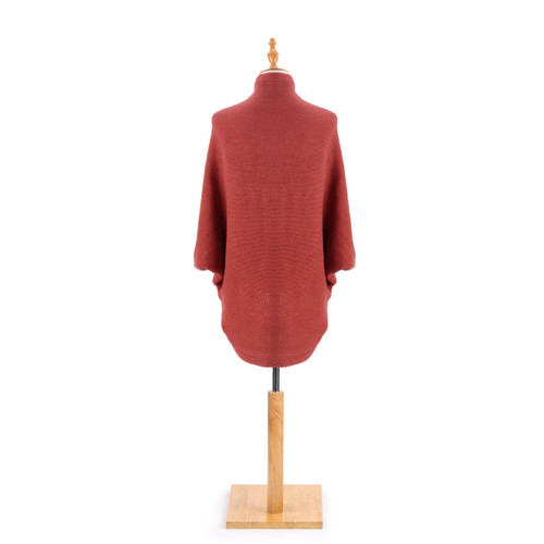 back view of red knit cardigan