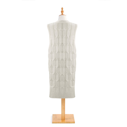 back view of light gray knit cardigan with long hem