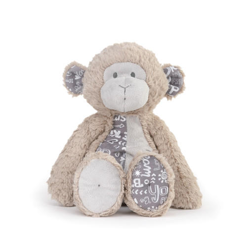 brown plush monkey stuffed animal with gray and white patterned fabric on stomach, ears and one foot