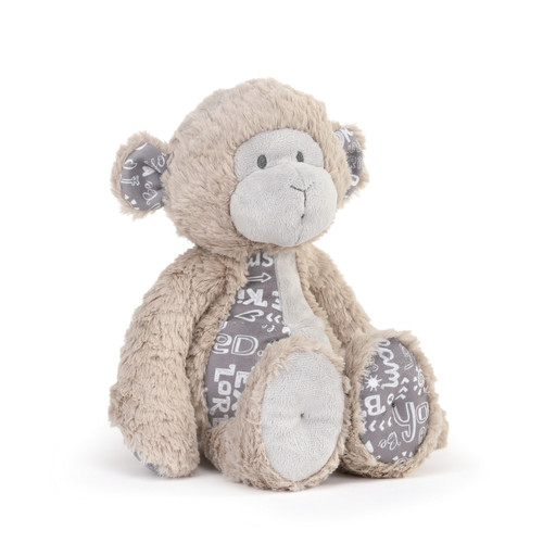 brown fluffy stuffed bear with gray fabric with white love quotes on stomach, ears and feet