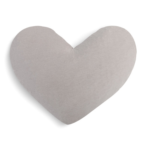 gray stuffed heart shaped pillow