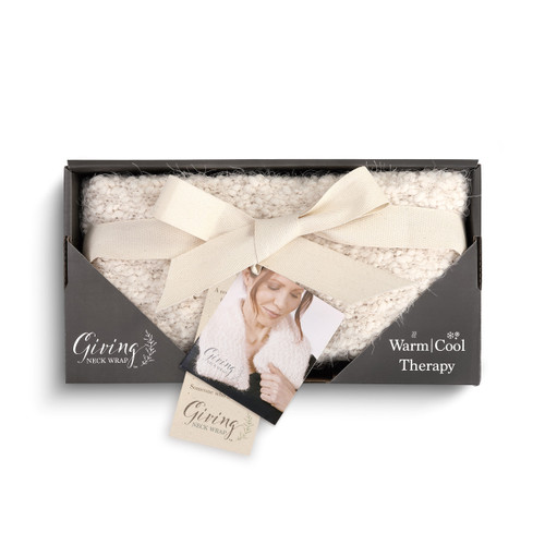 cream plush Giving neck wrap in black cardboard packaging wrapped in white ribbon