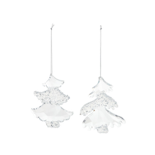 Two faceted glass ornaments decorated with glitter in the shape of trees